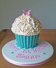 Cupcake smash cake- like the rosette buttercream detail