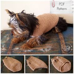 """This cute little sweater suits dogs with 30-32 cm around chest. The back length of the sweater - 26.5 cm (10.5""""). It's an easy pattern (if you have an experience working with short rows) with full written instructions and photos."""