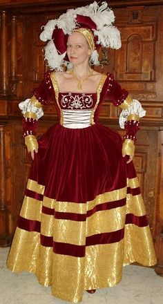 Saxon gown after Cranach  Mod for Snow White?  Navy where red?  sleeves trimmed with red?