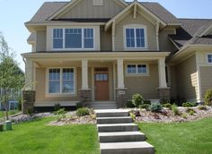 Exterior Columns | front porch with white square columns and stone pillars; perfect for a Craftsman style home | Bayer Built Woodworks Craftsman Front Porches, Craftsman Style Porch, Craftsman Columns, Front Porch Columns, Piazza San Marco, Palace, Square Columns, Stone Pillars, Le Palais