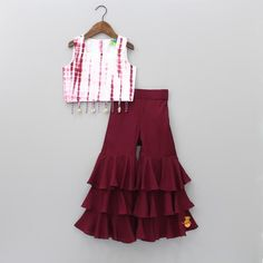 Pre Order: Cherry Dip With Sharara Kids Party Wear Dresses, Kids Dress Wear, Kids Gown, Designer Party Wear Dresses, Dresses Kids Girl, Birthday Dresses, Kids Wear, Girls Frock Design, Baby Dress Design