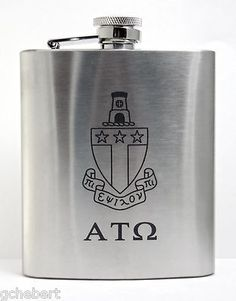 Alpha Tau Omega Fraternity Laser Engraved Crest 8 oz Stainless Steel Flask  available in Good Things From Louisiana, an ebay store.