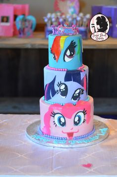 My little pony faces birthday cake- ORIGINAL DESIGN. Rainbow dash, twilight sparkle