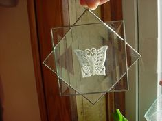 Stained Glass Butterfly Suncatcher Clear Lace 4 inch Beleveled Silver tone Metal #Unbranded