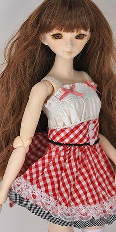 47cm Misha sundress dress set ///////  Misha hand-painted A-head /  47cm Parabo body white skin /  7inch heat-resistant wavy wig (PW-T45-01-30) /  16mm Realistic eyes light  / brown (EYREBLB-16) / dress set, underwear, socks, shoes(SH-PB96-WH)