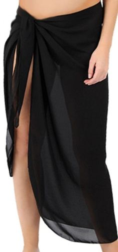 Sanctuarie Women's Sheer Black Plus Size Sarong Pareo Coverup Pareo Coverup *** Don't get left behind, see this great  product : Plus size swimwear