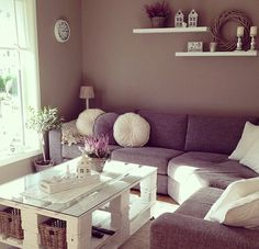 Possible shelf ideas for wall behind couch - I also like the wall color with the…