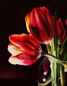 """Twilight Tulips"" - Original Fine Art for Sale - © Jacqueline Gnott"