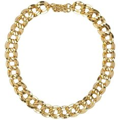 Susan Caplan Vintage 1980s Vintage Monet Double Link Gold Plated... ($110) ❤ liked on Polyvore featuring jewelry, necklaces, accessories, colar, gold plated necklace, initial necklace, costume jewelry, vintage jewelry and vintage chain necklace