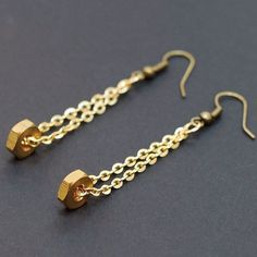 Found Object Jewelry- Brass Upcycled Hardware and Chain Earrings #diyjewelry