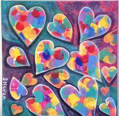 Heart Series/ Acrylic on canvas/ 8x8