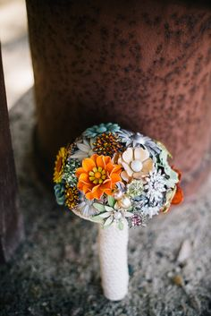 These glass flowers make the perfect timeless bouquet!! View the full wedding here: http://thedailywedding.com/2015/12/02/central-california-beach-wedding-cerra-jonathan/