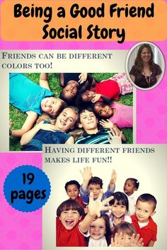 Social story on friendship and how to be a good friend for students with autism and social skill challenges.  This printable story is perfect for school and home and allows your student to learn about this important social skill and appreciate differences and friendships.  Download at:  https://www.teacherspayteachers.com/Product/Being-a-Good-Friend-Social-Story-1418150
