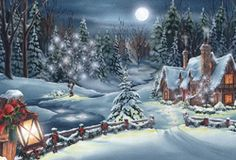 Snowy Night - one of the screensavers available on the Jacquie Lawson e-cards site.