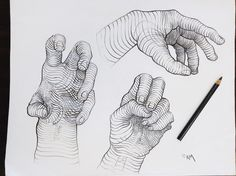 Three Hands - pencil on paper.   A project I did with my students using cross contour lines to give form to the shape of hands.