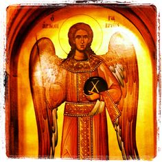 St Gabriel the Archangel, icon on the door to the tabernacle of the Greek Orthodox Church, Modesto.