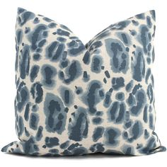 Blue Leopard Decorative Pillow Cover Throw Pillow Accent Pillow Pillow... ($35) ❤ liked on Polyvore featuring home, bed & bath, bedding, decorative pillows, grey, home & living, home décor, grey bedding, gray bedding and grey pillow shams