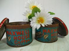 Antique Shabby Set of Maxwell House Coffee Cans #divineordersshop #etsy #vintage #maxwellhousecoffee #antique #tins #coffee #storage #rusty #coffeecans