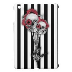Black and white stripes with skull poppies iPad mini cover