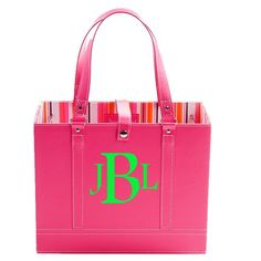 Traditional version of font! Jamie Raquel File tote in Pink with Custom Monogram Cute Office Supplies, Pink Office, College Organization, Travel Tote, Working Woman, Student Gifts, Hermes Birkin, Online Boutiques, Lilly Pulitzer