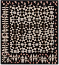 Vorfrühling by Kolo Moser, 1901 Motifs Textiles, Textile Patterns, Print Patterns, Antique Quilts, Vintage Textiles, Vintage Patterns, Black And White Quilts, Black Quilt, Koloman Moser