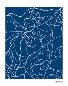 Jerusalem City Map Wall Art / Israel Line Art by jennasuemaps