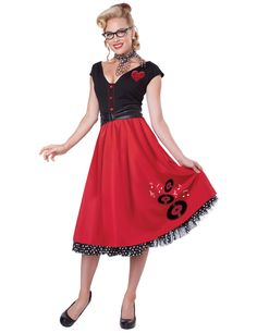 bc5366a604a578 50er Jahre Rockabilly Damenkostüm Petticoat rot-schwarz , günstige  Faschings Kostüme bei Karneval Megastore,