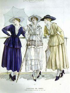 Algunos de los primeros diseños de Coco Chanel, publicados en 1917 por Les Elegances parisiennes.