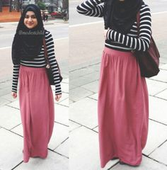 Striped black and white top + pink maxi skirt