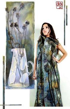 Felt Art By Kira Outembetova. ` Poppy Pods ` Long Sleeveless Vest, Front.