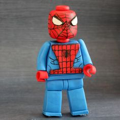 Handmade, NO MOLDS, Lego Spiderman fondant cake topper decoration.