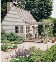 Farmhouse Exterior Tiny house, garden shed with pergola and climbing roses, english garden landscaping Cottage Patio, Cottage Living, Cottage Homes, Farmhouse Garden, Country Living, Cottage Exterior, Welsh Country, Country Patio, Cape Cod Cottage