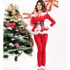 RED FAUX FUR CHIC SANTAS HELPER CHRISTMAS COSTUME
