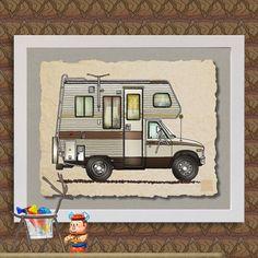 7dddcedd76 CLASS C RV happy camper art Cute whimsical by TwoBananasArt