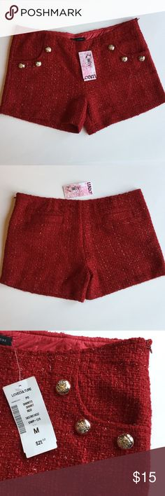 Love Culture Red Shorts  Love Culture red shorts with red sparkle and gold accent buttons. Front side pockets and back accent pockets. Fully lined. New with Tags. Size Medium Love Culture Shorts