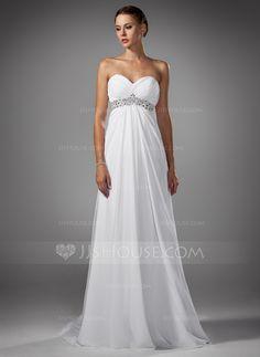 Vestidos de novia - $144.49 - Corte imperial Escote corazón Barrer de tren Gasa Vestido de novia con Volantes Bordado (002004156) http://jjshouse.com/es/Corte-Imperial-Escote-Corazon-Barrer-De-Tren-Gasa-Vestido-De-Novia-Con-Volantes-Bordado-002004156-g4156