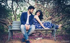 Pre wedding idea shot on a bench in royal blue outfit in Jaipur | weddingz.in | India\'s Largest Wedding Company | Wedding Venues, Vendors and Inspiration | Indian Wedding Bridal Jewellery Ideas |