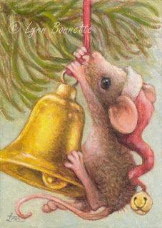 Lynn Bonnette (mouse, christmas, bell, hanging, ornament, tree, hat, mice)