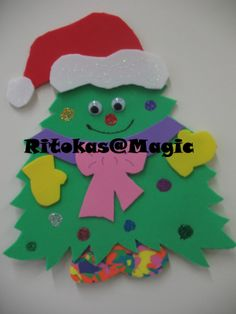 Pinheirinho de natal - Recorte, colagem e pintura.