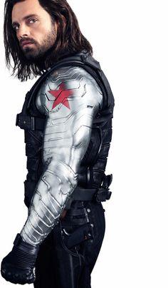 Sebastian Stan as The Winter Soldier in Vanity Fair's Infinity War article.