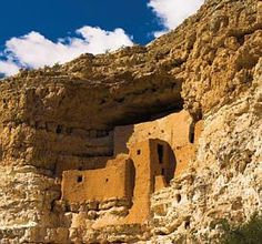 Verde Valley, AZ, Montezuma's Castle National  Monument and Montezuma's well, two  archaeological sites left by the Sinagua Indians.