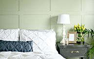 Use several colors for playful squares with a pop, use one soft color for a peaceful getaway, or add painted trim to give your space depth.