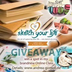 """Because I'm happy *clap along lalala* and because I can ... and because I love giveaways - you can win a spot in my brandnew Online Class """"Sketch your Life"""", which will start on November 10th.It's a 5 Week Online Class - all about Sketching, Sketchbooks, Watercolor Sketches,…"""