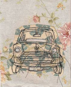 mini collage, in the style of claire . by Natalie Green Machine Applique, Free Machine Embroidery, Embroidery Applique, Free Motion Embroidery, Free Motion Quilting, Crazy Quilting, Natalie Green, Vintage Paper, Vintage Cars