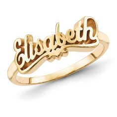 Gold Plated Sterling Silver Script Letters Name Ring with Heart