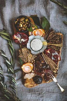 Boursin Cheese Platter | pomegranates, olives, breads, herb cheese spread, crackers