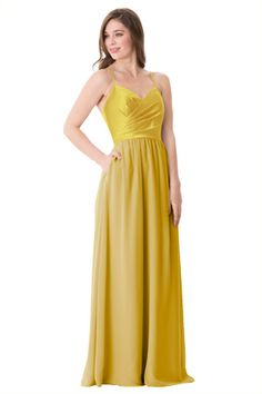 Pleated camisole style Vienna Satin bodice with spaghetti straps, A-line Bella Chiffon skirt and center back zipper closure. | Style: 1656 & 1656-S #bridesmaids #wedding