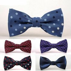 LOT OF 5 Dan Smith Mens Pre tied Bow Ties New Red Blue black striped plaid skull