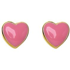 Lily Nily 18k Gold Overlay Enamel Heart Stud Earrings Pink