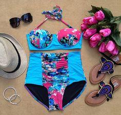 Keila Blue Floral Bandeau Highwaist Retro Highwaist Swimsuit Swimwear Bikini